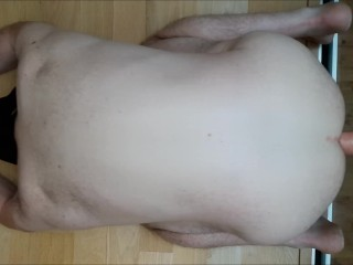 Straight guy deep ass fuck by huge dildo, moaning and anal gaping