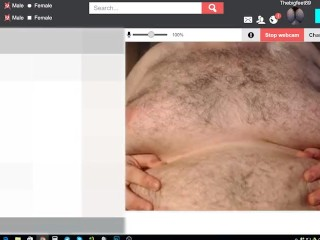 Big Fat Guy Plays with his tits and talks to you