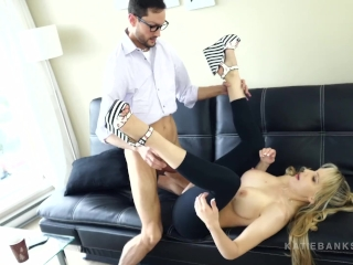 Fucking Her Dad FINALLY! Katie Banks ripped spandex face splattered