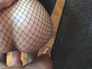 Wife fucked in fishnet and cumshot on her fake tits – Naughtysoulmates