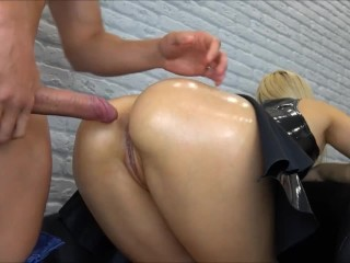 Anal sex with a fetish latex dress on and cumshot on her ass