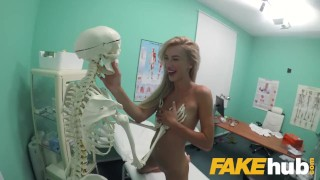 Screen Capture of Video Titled: Fake Hospital Sweet blonde Russian eats docs cum after doggystyle fucking