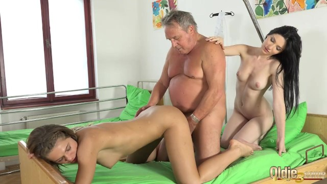 Young nurse porn - Grandpa at the doctor fucks hot young nurses in old young threesome porn