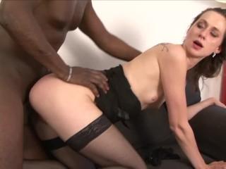 Petite brunette gets creampie from big black dick