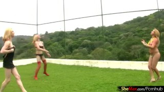 Strip blonde chicks play and volleyball down four with dicks brazilian fuck