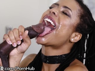 Kira Noir's First Throating Scene with Huge Dick