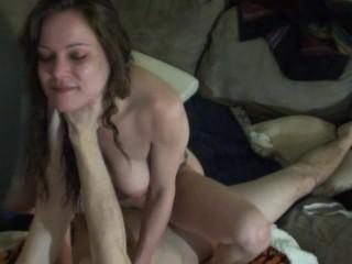 Choking Orgasm Sex, Overhead View Riding & Cumming Hands Around Her Throat!