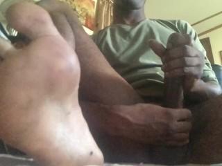 Cumshot close up (focus on my feet)