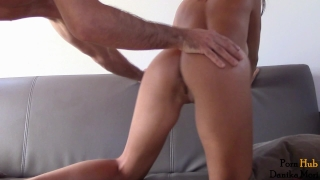 Insatiable hot babe ride big fat cock - anal creampie! 3some interracial