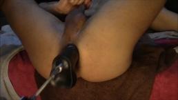 Black dildo fuck machine