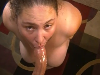 Slave worships master cock before bed