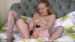 Blonde Lucy Lume office tease to home slut big tits in retro nylons toying