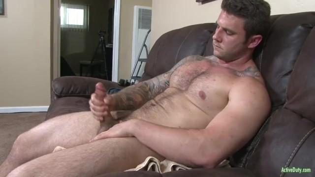 Gay big cock jocks Hung and hairy straight army hunk jerks his cut cock