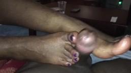 Dark bone purple toes footjob