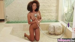 Twistys - Solo shower fun, with ebony teen Cecilia Lion