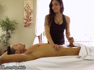 TS Masseuse Tori Mayes gets Ass Stuffed by Stud