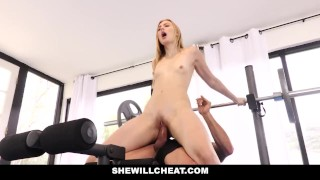 SheWillCheat Blonde Wife Fucks Trainer In Front Of Husband