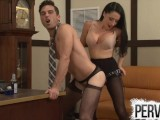 Cleo Fucks Her Chastity Bitch Boss's Ass In His Office
