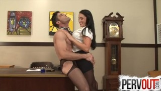 Office his ass boss's fucks cleo chastity bitch her in fuck big
