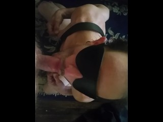 Blindfolded guy sucking me before bb
