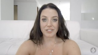 And creampie after gets white cries emotional angela cum tits