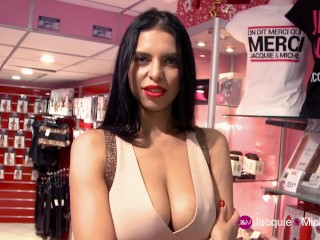 Kira Queen Flashing in a French Sextoy Store