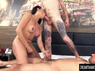 Shemale Cacau DiPaula getting barebacked by 2 guys