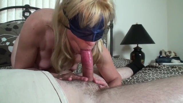 Mature woman giving blow job Blonde milf gives a blindfolded birthday blow-job to a young pornhub member