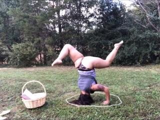 Outdoor yoga in panties...