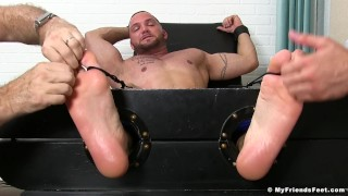 Julian Knowles is restrained and tickled by two kinky studs Heels pornhub.com