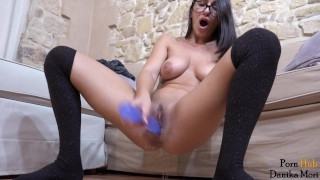 Young brunette masturbate both holes and ask you to cum when she squirt! Big tits