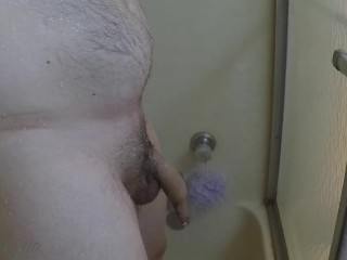 Daddy peeing and shaving in the shower, then masturbating. Part 1 of 2.