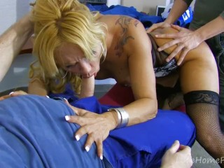 Lingerie-Clad Blonde Takes On Two Guys