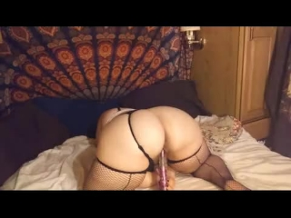 Sexy Fat Chick in Lingerie fucks herself with vibe. Fat girl masturbate.