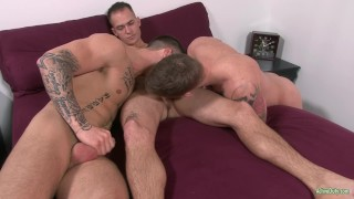 Quentin Gainz Barebacks with 2 Str8 Active Duty Hunks! Blowjobs kissing