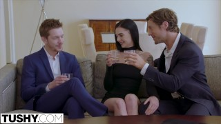 Tushy time on off enjoys dp model hot blowjob brunette