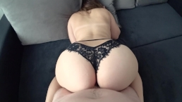 Young with big ass in black panties fucked