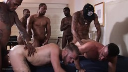 Six Black Monster Cocks Gang-Breeding Two Tiny White Boys