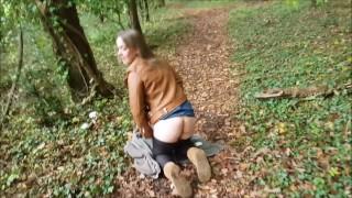 Dirty Bitch Likes Public Doggystyle & Cum Gargle On Woodland Path