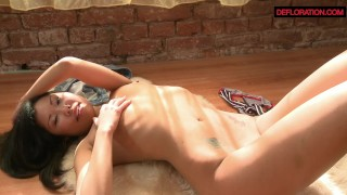 Shaved in virgin asian pink panties horny erotic perky