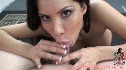Aleska Nicole sucks tiny cock till it blows in her mouth