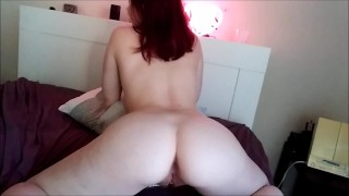 RED HEAD WITH AMAZING ASS RIDING A CREAM PIE EMMA RAE LITTLE CLOSE UP CUM