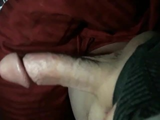 Stroking thick cock