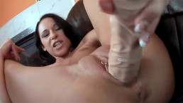 brunette slutty milf pissing and fucking big dildo and big cock