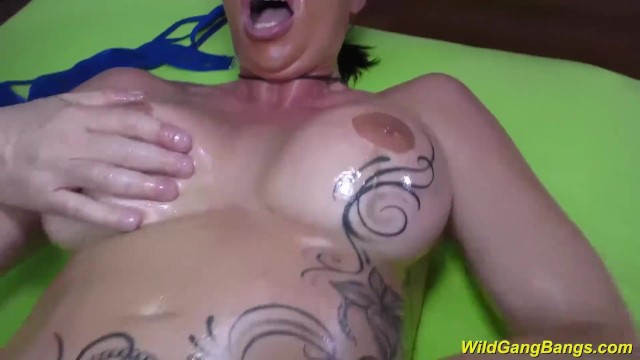 busty german Milf gets oiled and banged 3
