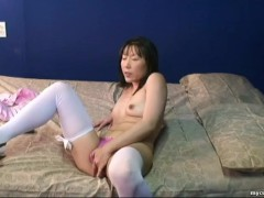Adorable Asian mom got dressed up for the webcam masturbation