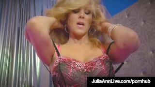 World Famous Milf Julia Ann Rides Stripper Pole & Rubs Cunt!
