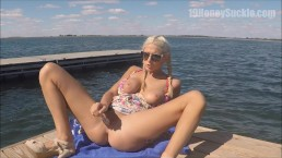 Dildo Fucking and Squirting at the Public Docks