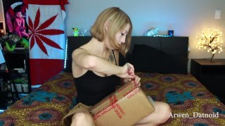 With mini dildos pussy stuffs bad and huge fucking dildo unboxing dragon cum insertion