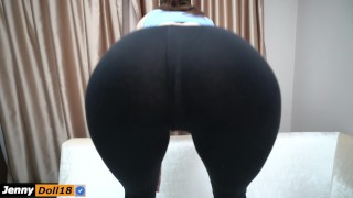 Step sister do squats and seduced step brother with yoga pants Sister step